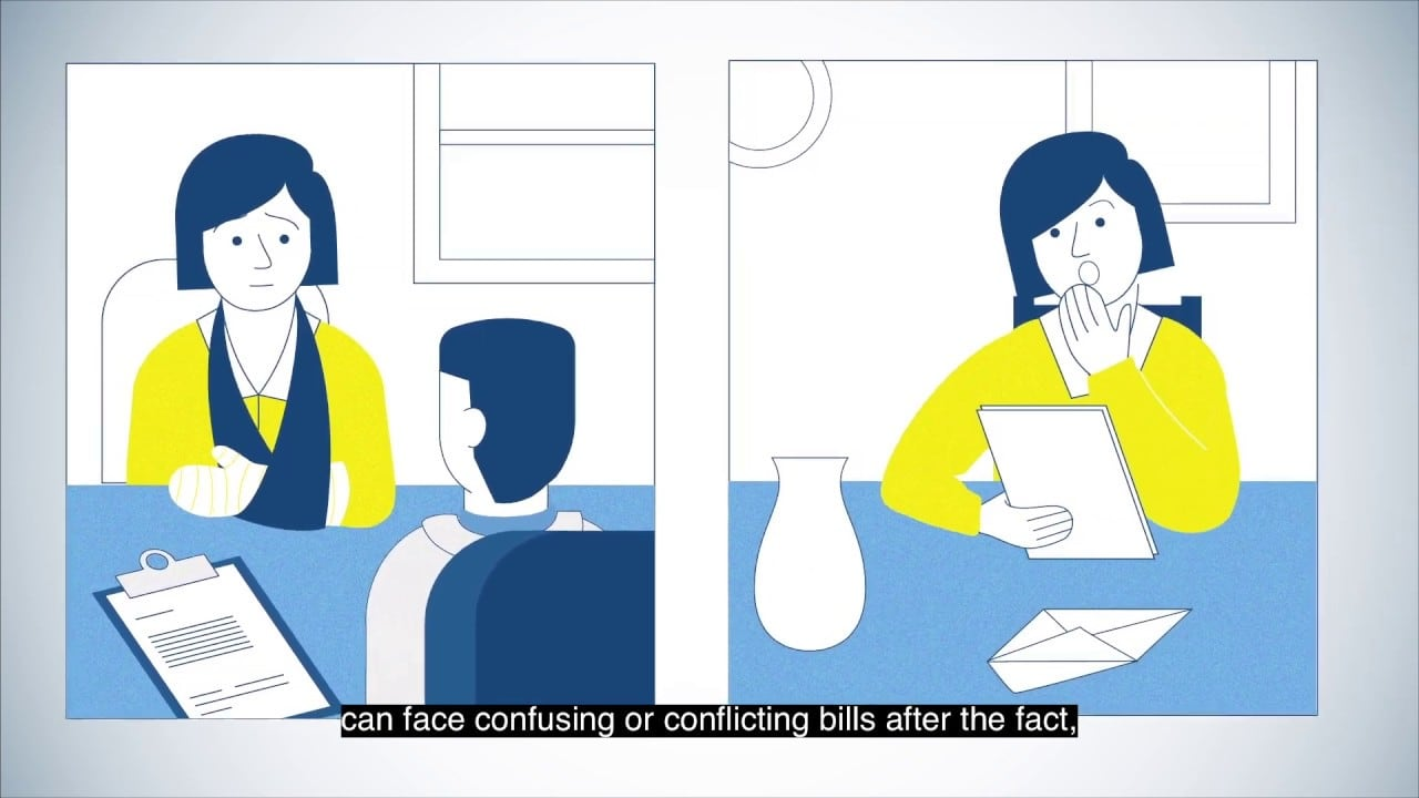 2D animation of a patient receiving a medical bill after a visit to her doctor.
